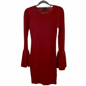 Bardot Knitwear Burgundy Dress with Bell Sleeves
